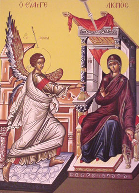 An icon of the Annunciation.