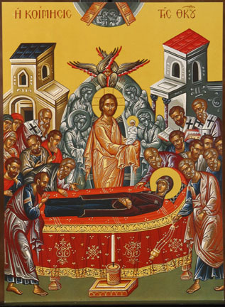 An icon of the Dormition of the Virgin Mary.