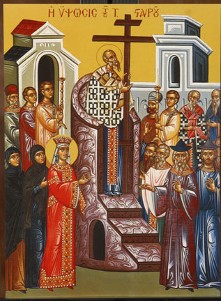 An icon of the Exaltation of the Holy Cross.