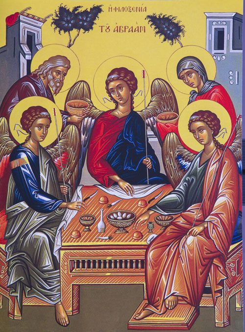 An icon of The Hospitality of Abraham.