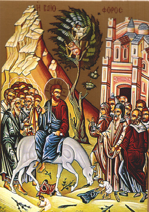 An icon of the Entry or Our Lord into Jerusalem - Palm Sunday.
