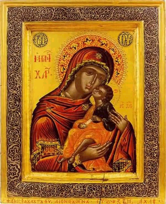 An icon of The Sweet-Kissing Icon of the Most Holy Theotokos.