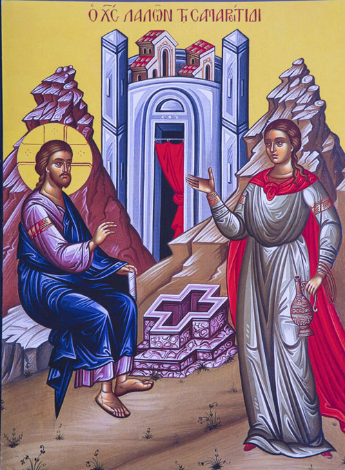 An icon of The Samaritan Woman - 5th Sunday of Pascha.