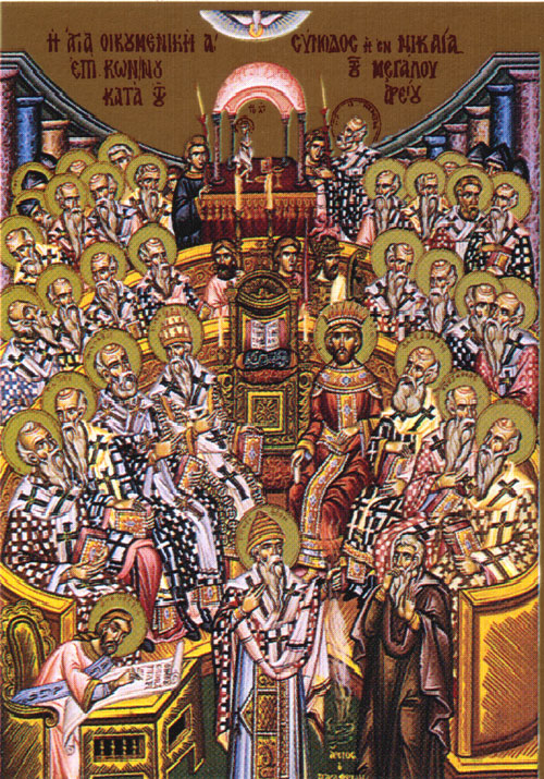 An icon of the Commemoration of the Holy Fathers of the First Ecumenical Council - 7th  Sunday of Pascha.