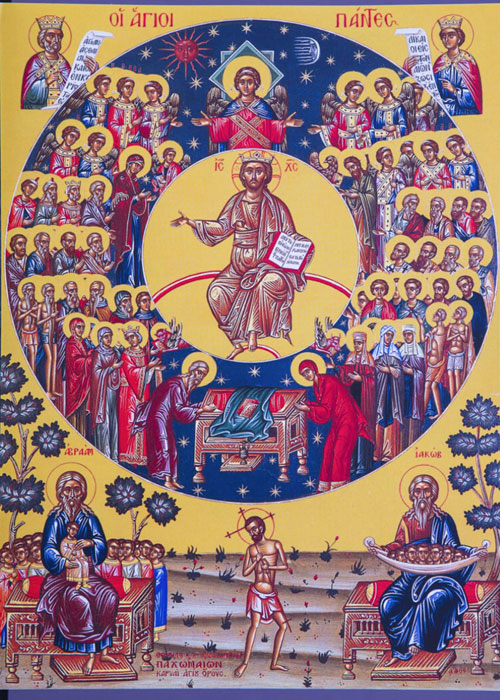 An icon of the Sunday of All Saints - 1st Sunday after Pentecost.