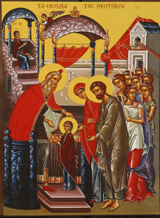 An icon of the Presentation of Mary to the Temple.