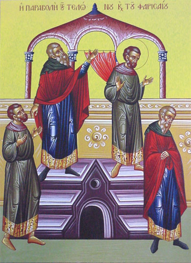 An icon of The Sunday of the  Publican and the Pharisee.