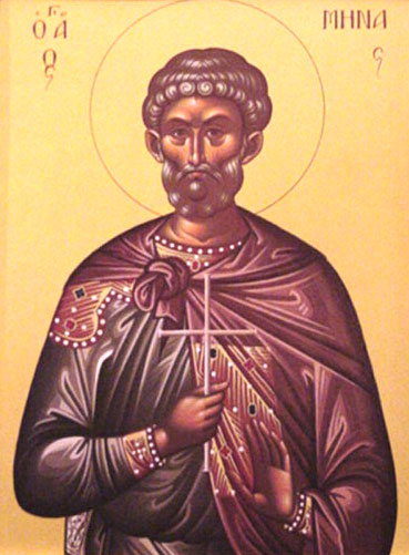 An icon of St. Menas of Alexandria, Martyr.