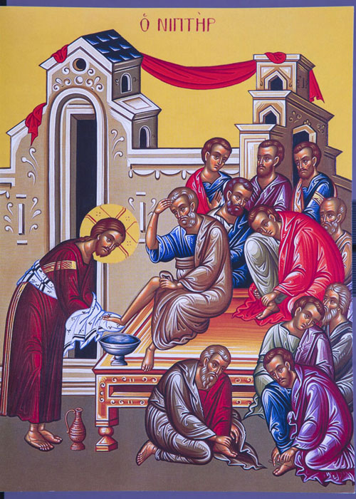 An icon of The Washing Of Feet.